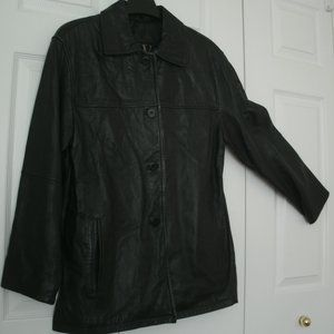 W New York by Winlet Black Leather Coat size Small